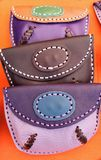 Hand made leather purses royalty free stock photography