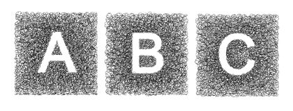 Hand made letter ABC drawn with graphic pen on white background Stock Image