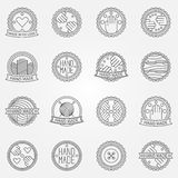 Hand made linear labels Royalty Free Stock Photo