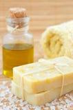 Hand-made marigaold (Calendula officinalis) soap royalty free stock photo
