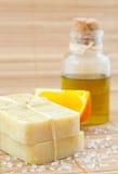 Hand-made marigaold (Calendula officinalis) soap royalty free stock image