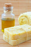 Hand-made marigaold soap with olive oil Stock Photo