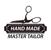 Hand made master tailor logotype design with scissors. Workshop logo Stock Photography