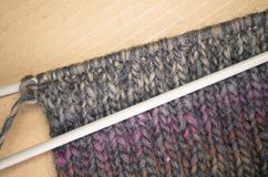 hand made melange wool knitted fabric Royalty Free Stock Image