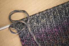 Hand made melange wool knitted fabric Royalty Free Stock Photography