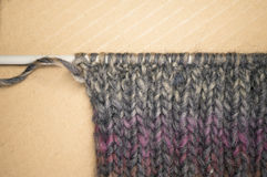 Hand made melange wool knitted fabric Royalty Free Stock Images
