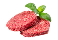 Hand Made From Minced Beef, Pork burgers patties isolated on white background Royalty Free Stock Image