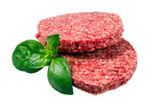 Hand Made From Minced Beef, Pork burgers patties isolated on white background Royalty Free Stock Photos