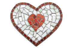 Hand made mosaic heart (Isolated) Stock Photography