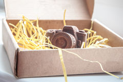 Hand made noname nobrand chocolate camera Stock Photos