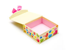 Hand-made opened yellow gift box Royalty Free Stock Photo