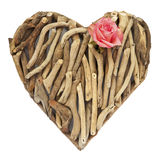 Hand-made ornamental heart made of dry sticks Royalty Free Stock Photos