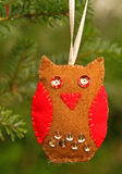 Hand made owl, Christmas decoration Stock Image