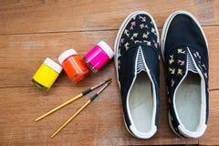 Acrylic Paint and paintbrush stock photos