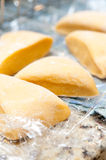 Hand made pasta dough. The process of making home-made pasta from scratch Royalty Free Stock Photo