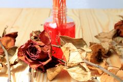 Hand made pf Fragrance Diffuser Set: bottle with aroma sticks and dry red rose reed diffusers, a spray bottle with perfume on pi Stock Images
