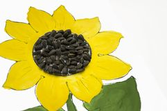 Hand-made picture of lovely sunflower. Painted with yellow and green gouache and glued black seeds. Art on the white background Stock Images