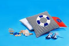 Hand-made pillows and marine accessories Stock Photography