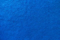 Handmade plain blue knitted fabric from above Royalty Free Stock Photo