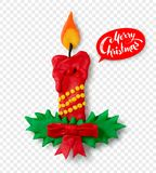 Hand made plasticine figure of Christmas candle. Vector hand made plasticine figure of Christmas candle with shadow isolated on transparency background Stock Image