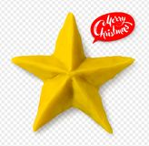 Hand made plasticine figure of Christmas star. Vector hand made plasticine figure of Christmas star with shadow isolated on transparency background Stock Photos