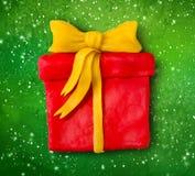 Hand made plasticine figure of gift box Royalty Free Stock Photo