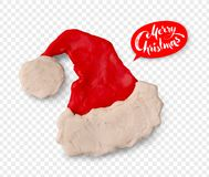 Hand made plasticine figure of Santa hat. Vector hand made plasticine figure of Santa hat with shadow isolated on transparency background Stock Photo