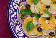 Hand made plate with citrus fruits salad Royalty Free Stock Photography