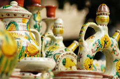 Hand-made pottery. Colourful hand-made pottery from Maramures Romania Royalty Free Stock Images
