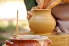 Hand made pottery being manufactured Stock Images
