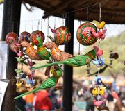 Hand made puppets attached to string in Rajasthan India dolls, it is local craft of the state Royalty Free Stock Photo