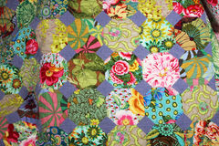Hand made quilt. As seen from above Stock Photos