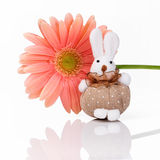 Hand made rabbit with pink flower Royalty Free Stock Photography
