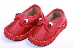 Red cloth shoes for children royalty free stock photo