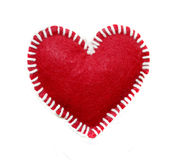 Hand-made red heart isolated on white background, clipping objec Royalty Free Stock Images