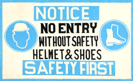 Hand-made safety sign Royalty Free Stock Images