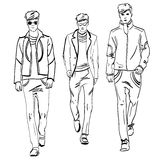 Hand made scetch of men on background Royalty Free Stock Photo