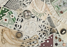 Hand made scrapbooking post card and napkin Royalty Free Stock Images