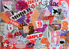 Hand made scratch pieces of paper from magazines for girls. Pieces of paper from magazines in girls colors stock image