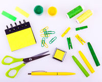 Hand made set in green and yellow tones Stock Photos