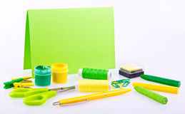 Hand made set in green and yellow tones Royalty Free Stock Image