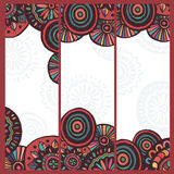 Hand made set of  motley ethnic cards Stock Photography
