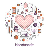 Hand Made Sewing Crafting Line Art Thin Icons Set with Tools and Accessories Royalty Free Stock Photos