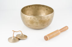 Hand Made Singing Bowl with Ringing Stick and Medi Royalty Free Stock Photography