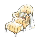 Hand made sketch of cozy interior elements. Stock Photography