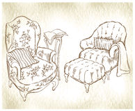 Hand made sketch of cozy interior elements. Royalty Free Stock Image