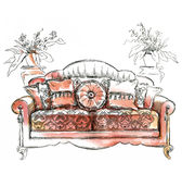Hand made sketch of cozy interior elements. Stock Photo