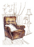Hand made sketch of cozy interior elements. Royalty Free Stock Photography