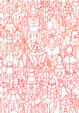 Hand made sketch of geometric forms/buildings Royalty Free Stock Images