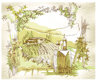 Hand made sketch grape fields and vineyards. Stock Image
